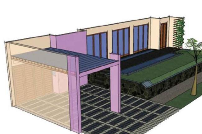 inspirasi interior dan eksterior rumah konsep desain carport kokoh dengan kolom beton ungu. Black Bedroom Furniture Sets. Home Design Ideas