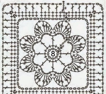 Granny cuadrado tejido con ganchillo con centro floral - con esquema