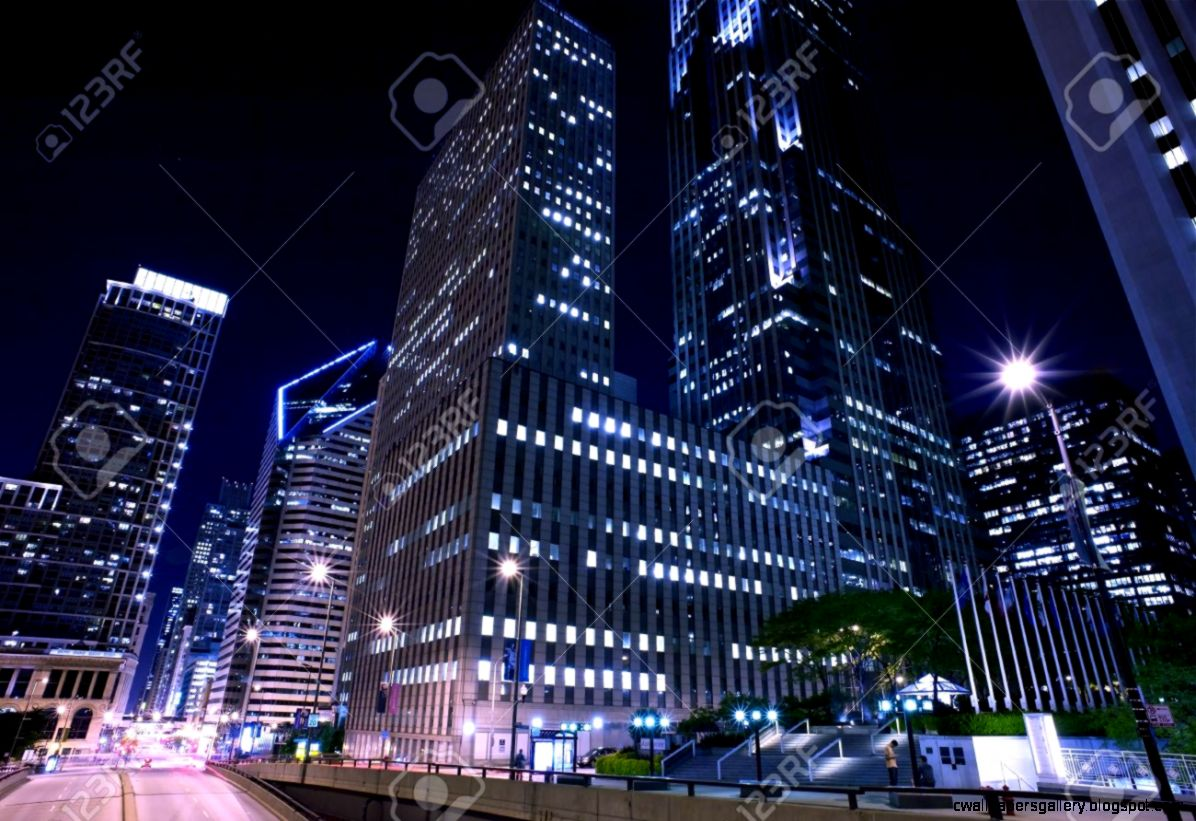 City Of Chicago Night Photography Of Downtown Chicago Horizontal