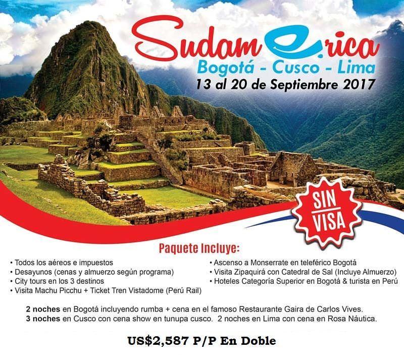 Viaja a Bogoá-Cusco y Lima
