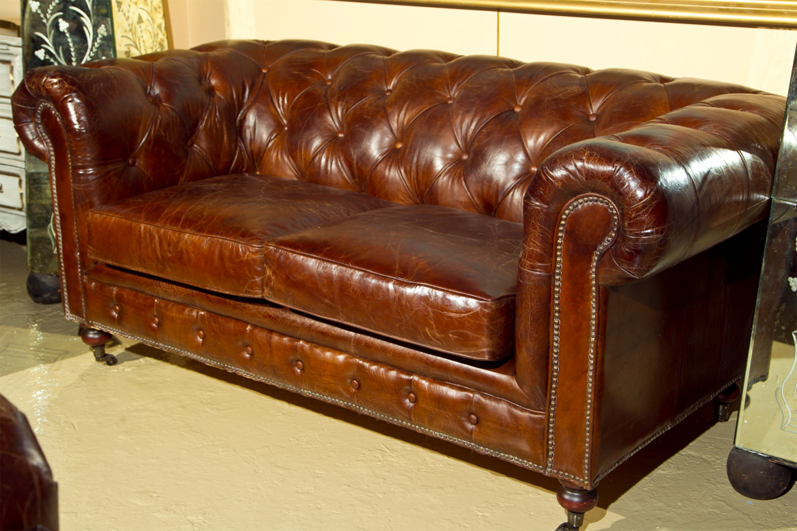 Paisley curtain chesterfield sofas Leather chesterfield loveseat