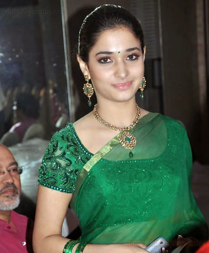 Cute Tamil Actress Tamanna Stylish Saree Stills Online Silk Pattu