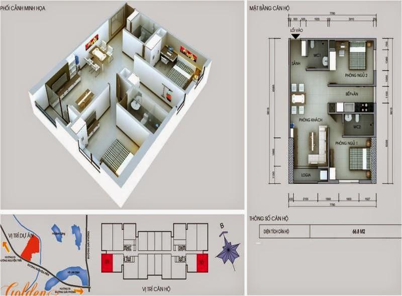 Căn số 1 - 10 DT 66,8m2. Golden Central Tower - Vinaconex 2