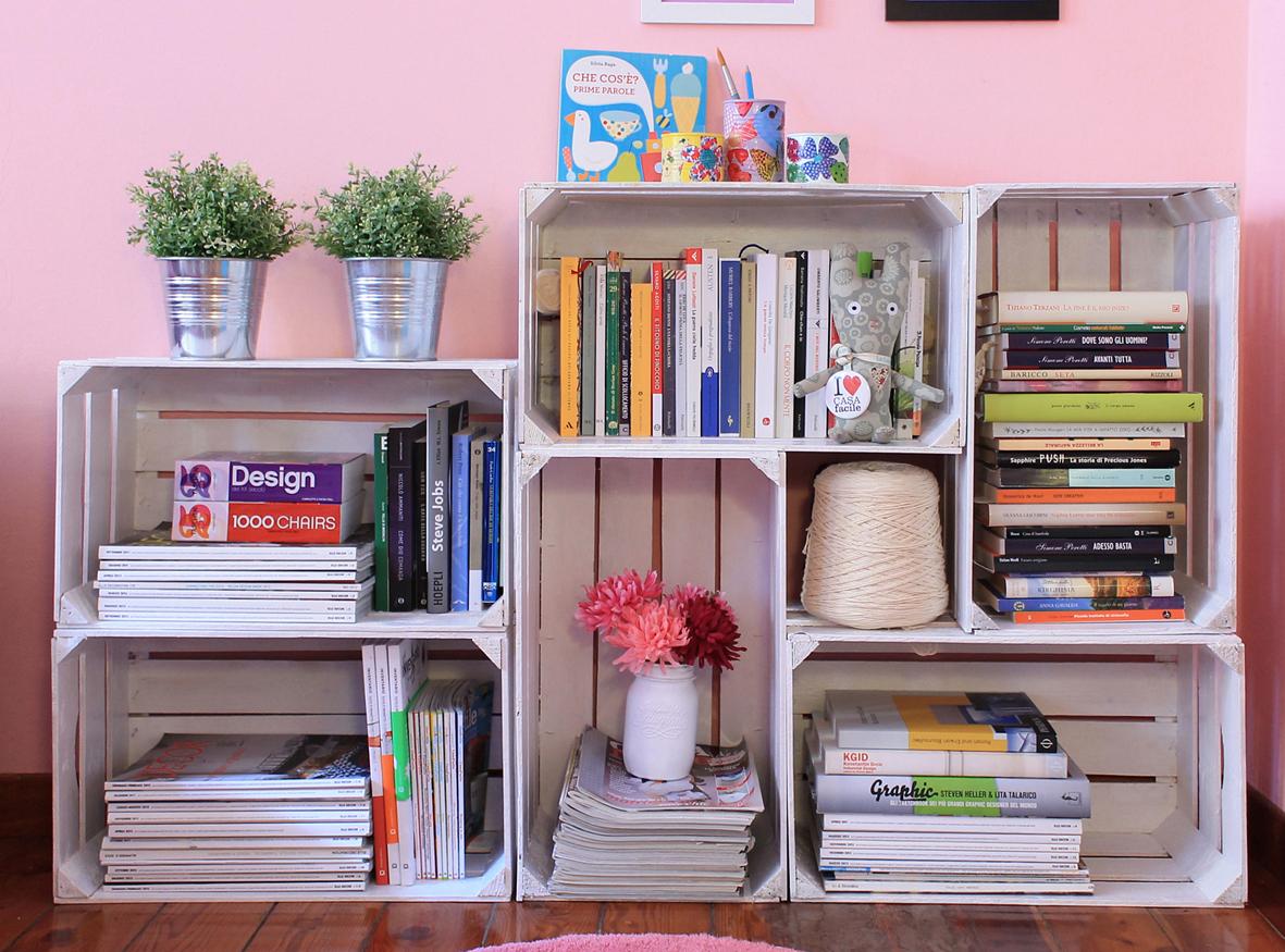 Lorendesign: La mia nuova libreria con le cassette della frutta