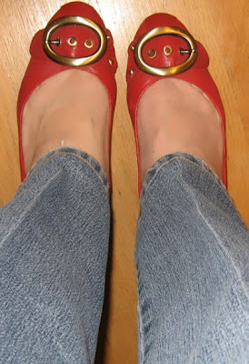Red Wedge Shoes With Buckles