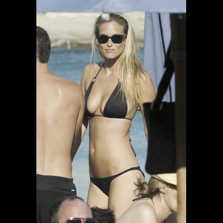 Bar Refaeli - Black Bikini in Greece