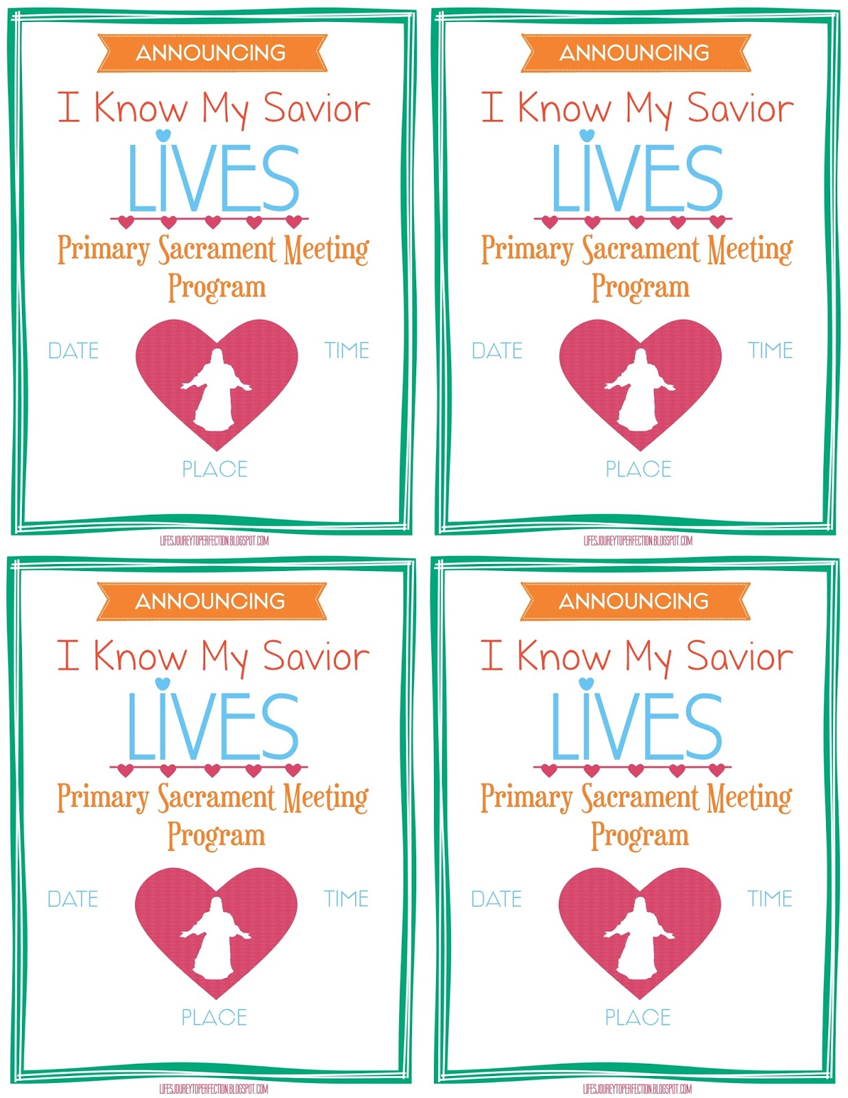 and Friends to the Primary Sacrament Meeting Program {Free Printable ...