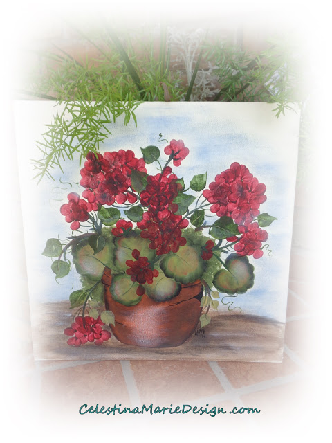 My Painted Red Geraniums