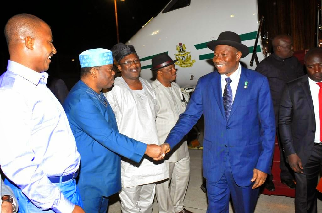 Jonathan Spotted Wearing A Blue Suit As He Arrives Israel For Pilgrimage {See Photos}
