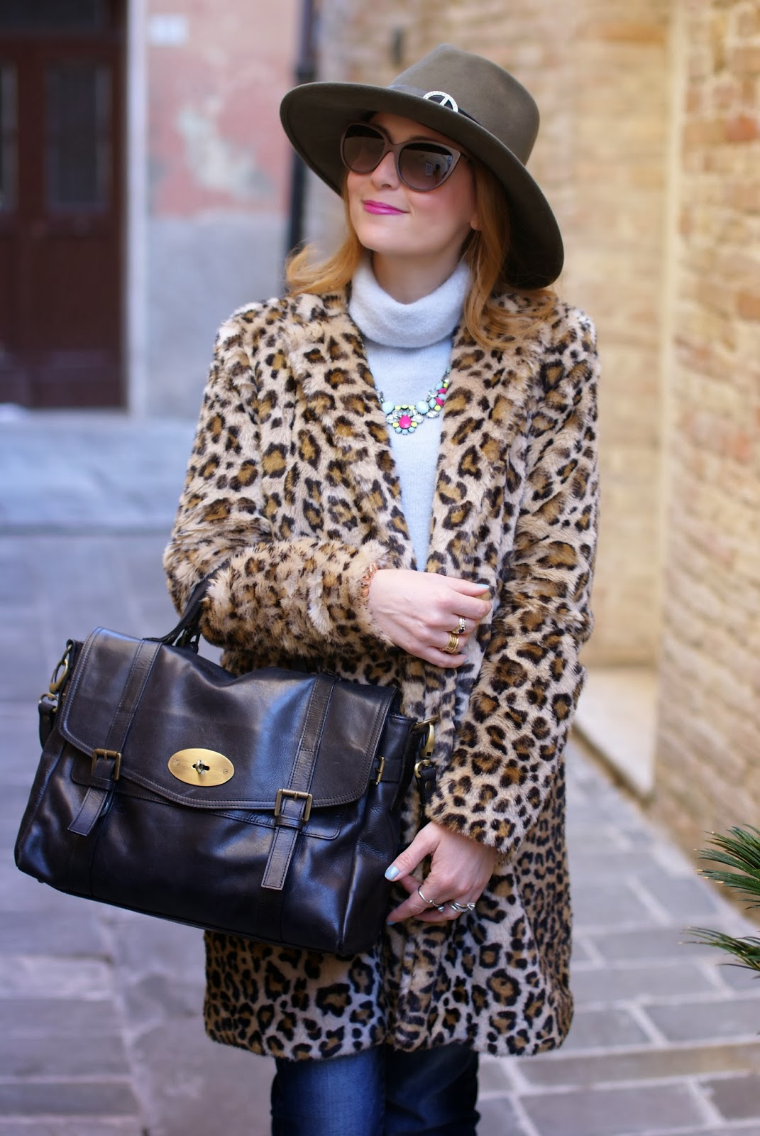 leopard faux fur coat, Ecua-Andino australian hat, satchel bag, Fashion and Cookies, fashion blogger