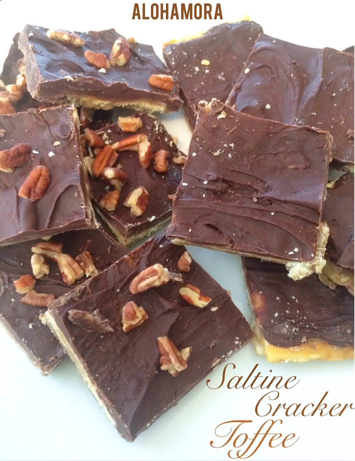 Saltine Cracker Toffee: Sweet and Salty and easy to make.  Makes a great gift, or an easy batch of some tasty treats.  Great party treat as well. Alohamora Open a Book http://alohamoraopenabook.blogspot.com/