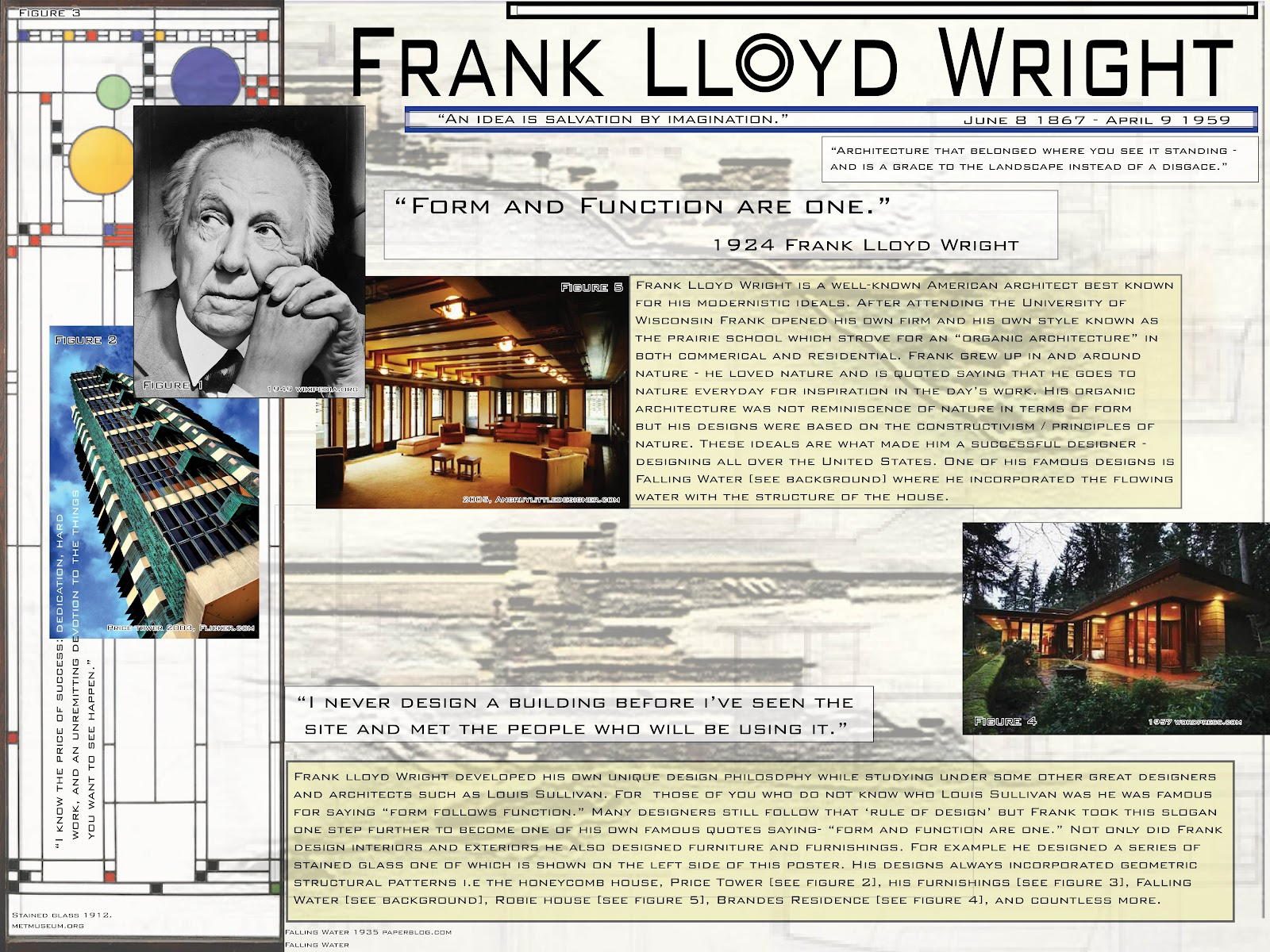 One of my favorite interior designers / architect is Frank Lloyd Wright.  Personally if I had to describe Frank's style of design I would say  'organic ...