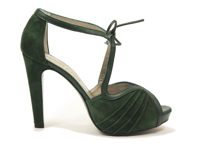 zapato de fiesta en tono verde