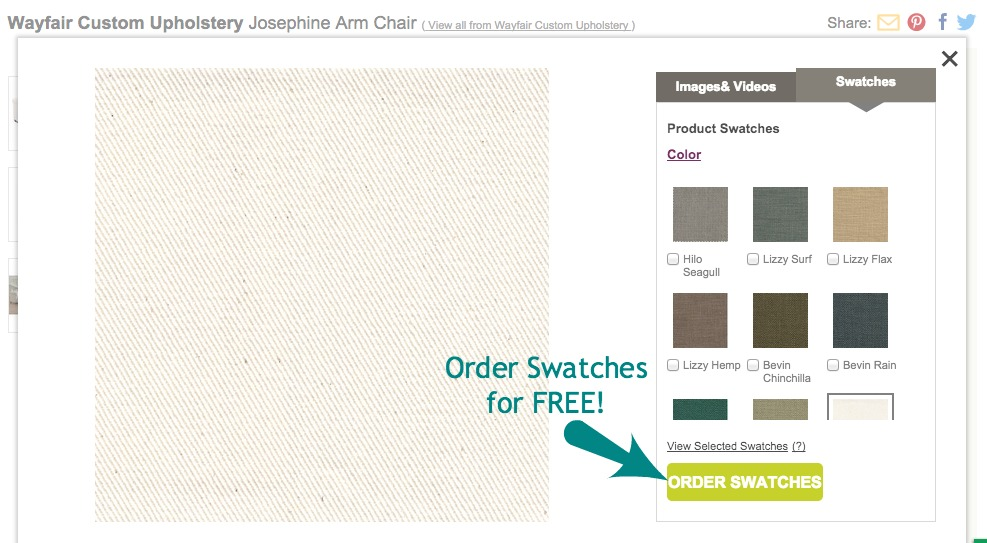 Wayfair.com; Order custom upholstery swatches for FREE