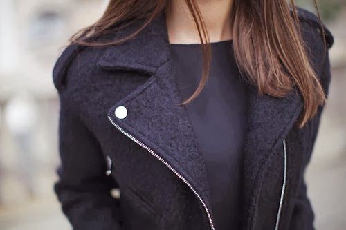 Stylish black trench coat and black blouse combination for fall