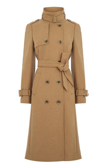 camel military coat, oasis camel coat, camel midi coat, camel high neck coat,
