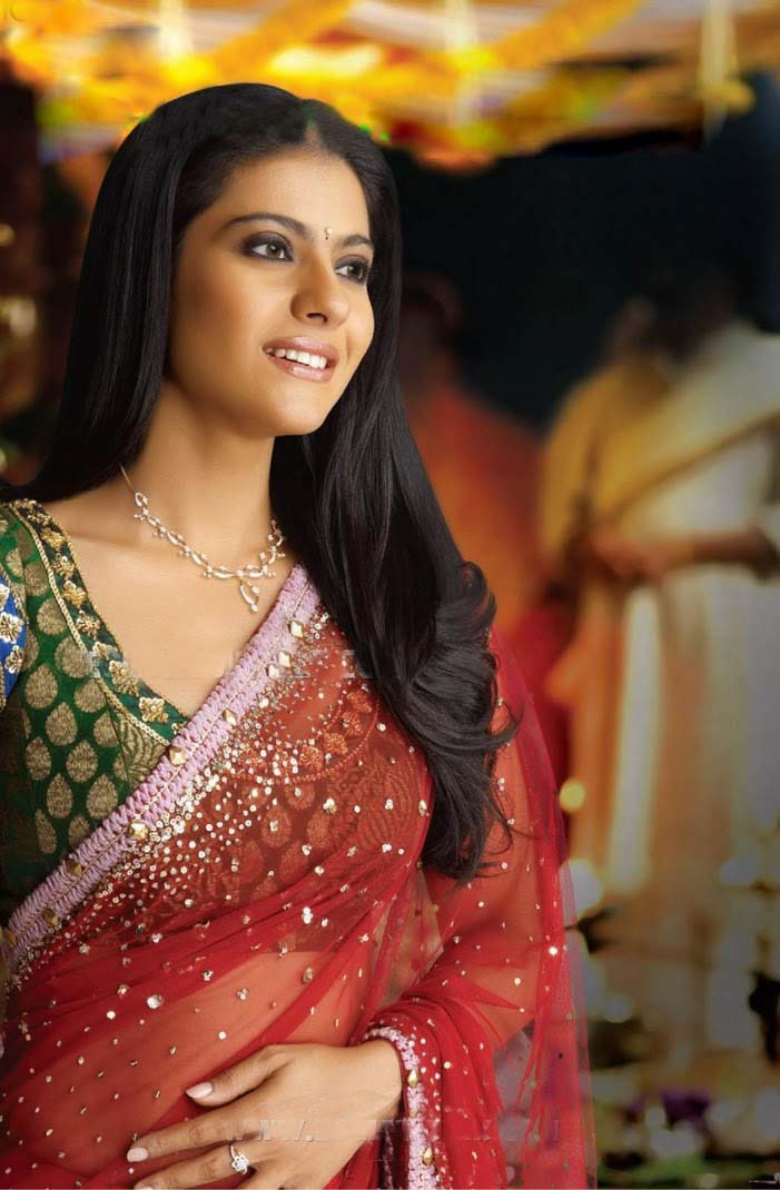 Bollywood movie heroine Kajol latest sexy red saree wallpapers ...