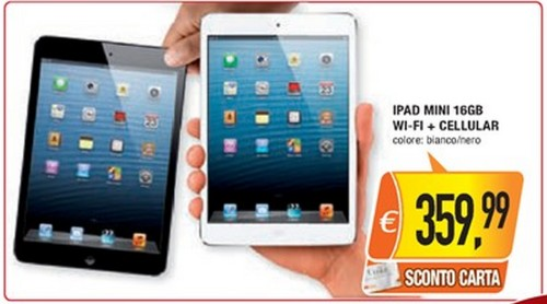 Oasi propone a 359,99 euro l'iPad Mini 16 GB Cellular, con uno sconto di 100 euro rispetto al prezzo originale Apple