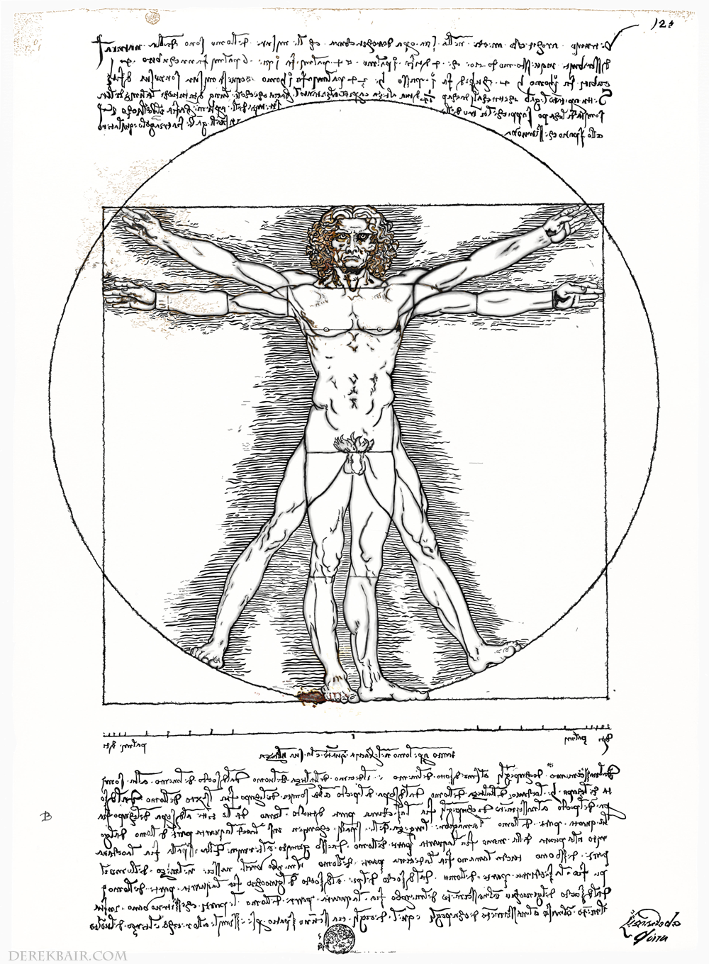 leonardo 39 s vitruvian man sketch detailed. Black Bedroom Furniture Sets. Home Design Ideas