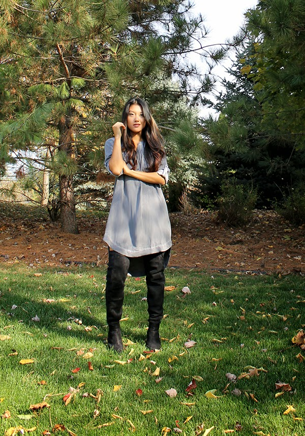 cloth and stone, thigh high boots, asian fashion blogger, miami fashion blogger, outfit of the day, shirt dress, gray trend, fall fashion 2015, fashion week, asian style