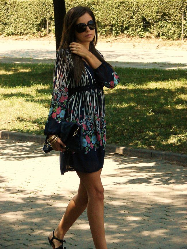 asos blue chiffon flowers dress