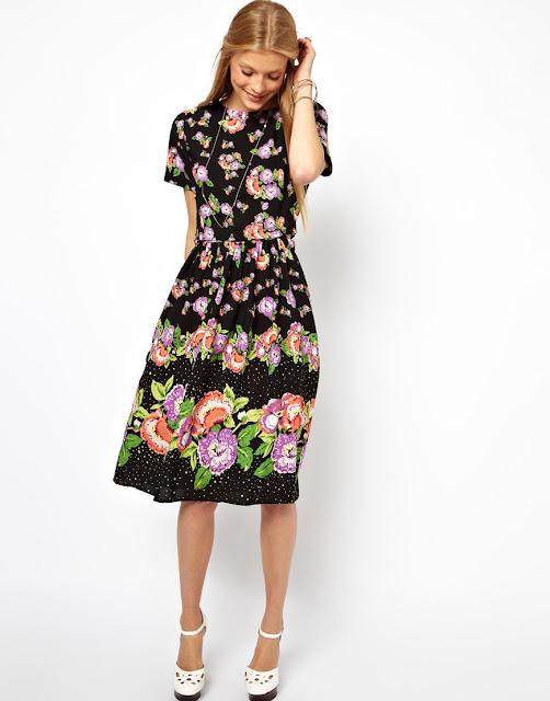 floral midi skater dress
