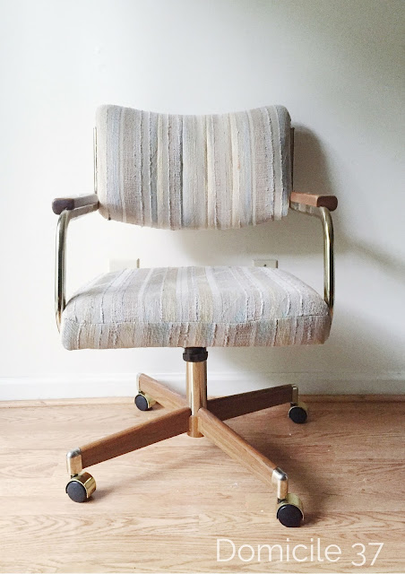 Before and After detailed tutorial on how to reupholster a cantilever rolling chair