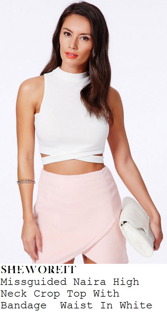 lauren-pope-white-sleeveless-high-neck-cut-out-bandage-crop-top-marbella