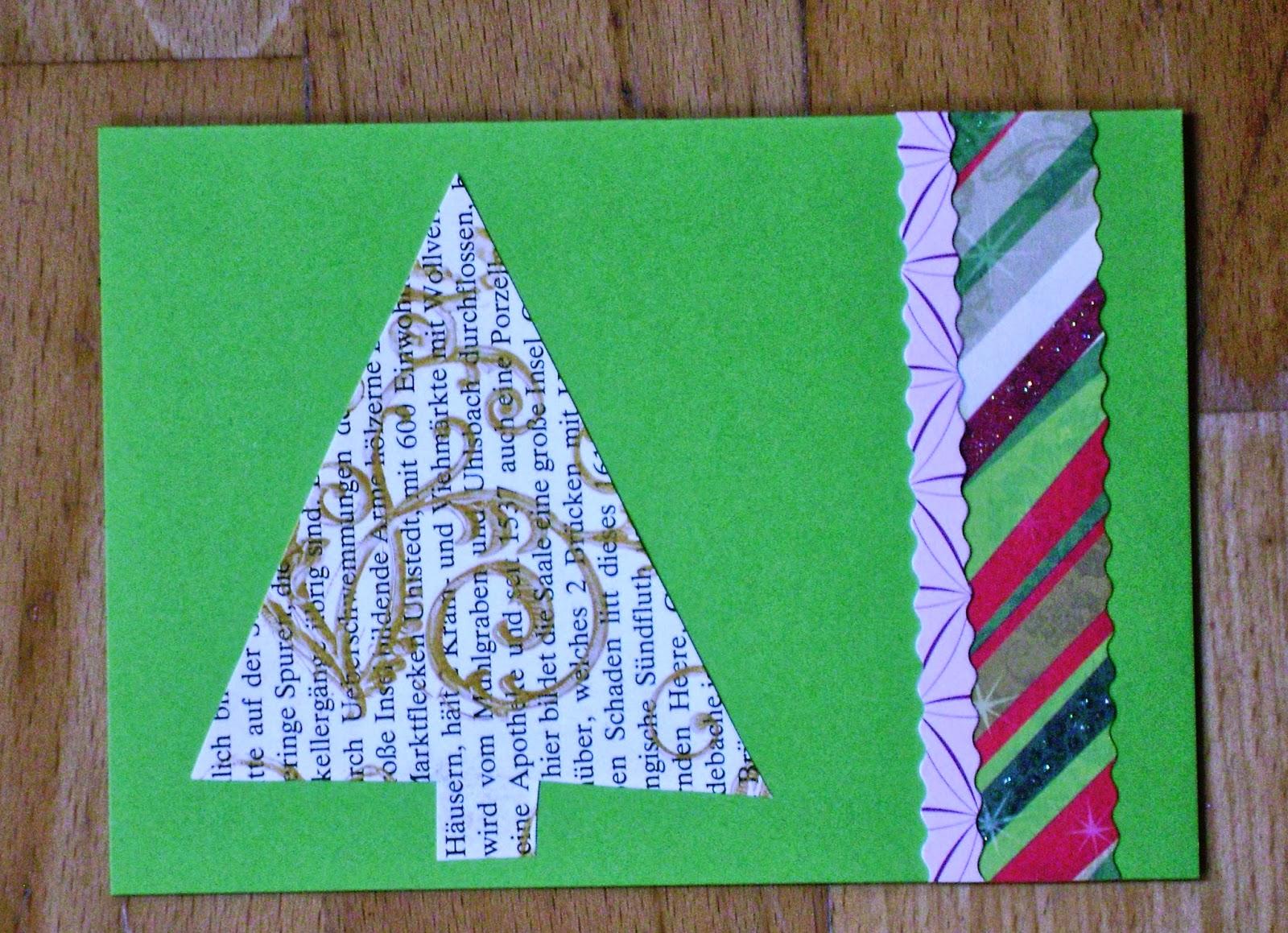 Weihnachtskarten aus alten buchseiten werkeln in alto for Alte weihnachtsbaumkugeln