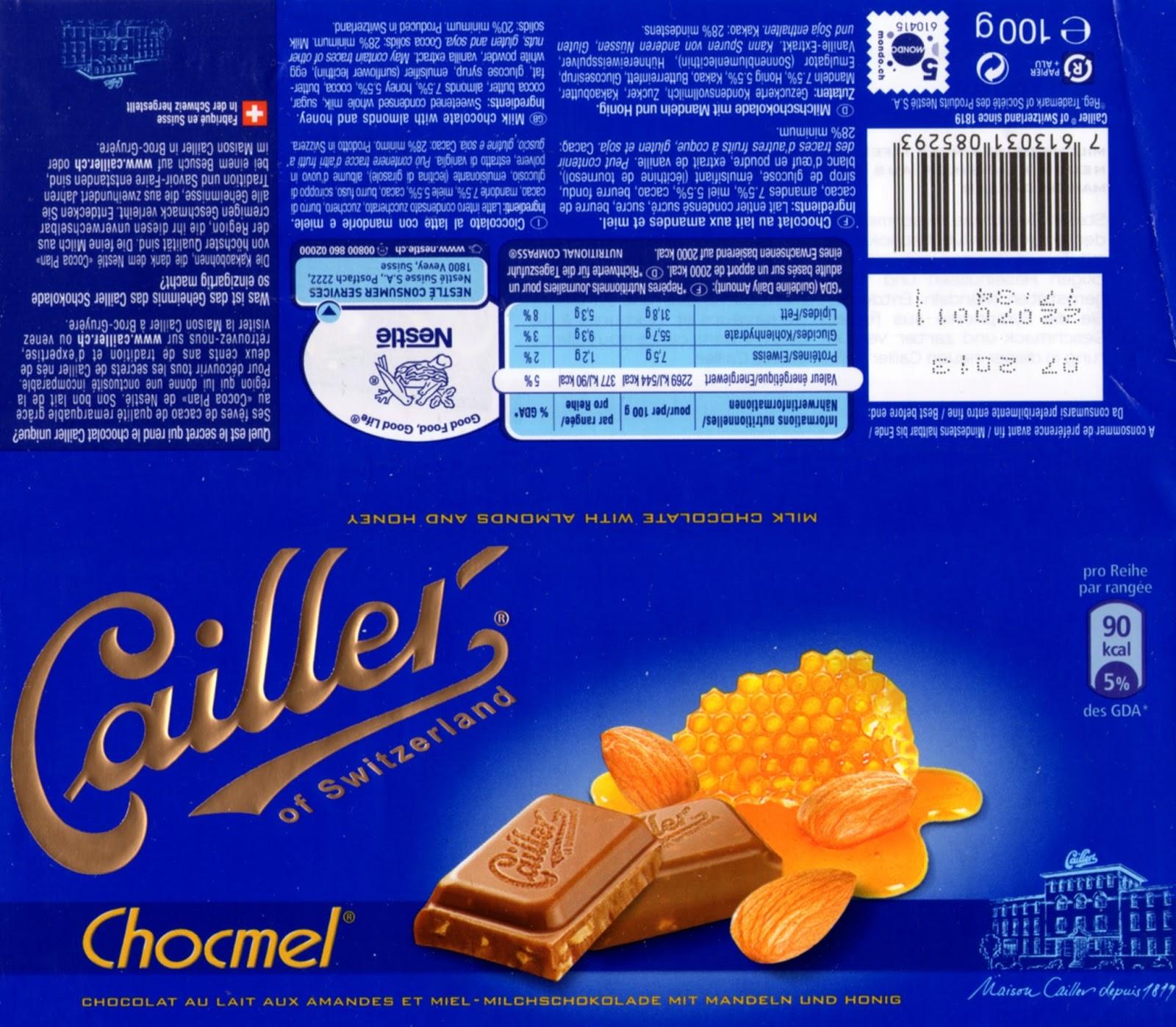 tablette de chocolat lait gourmand cailler chocmel lait amandes et miel