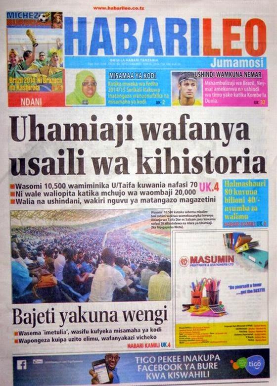 Magazeti ya Leo Jumamosi ya tarehe 14 June 2014