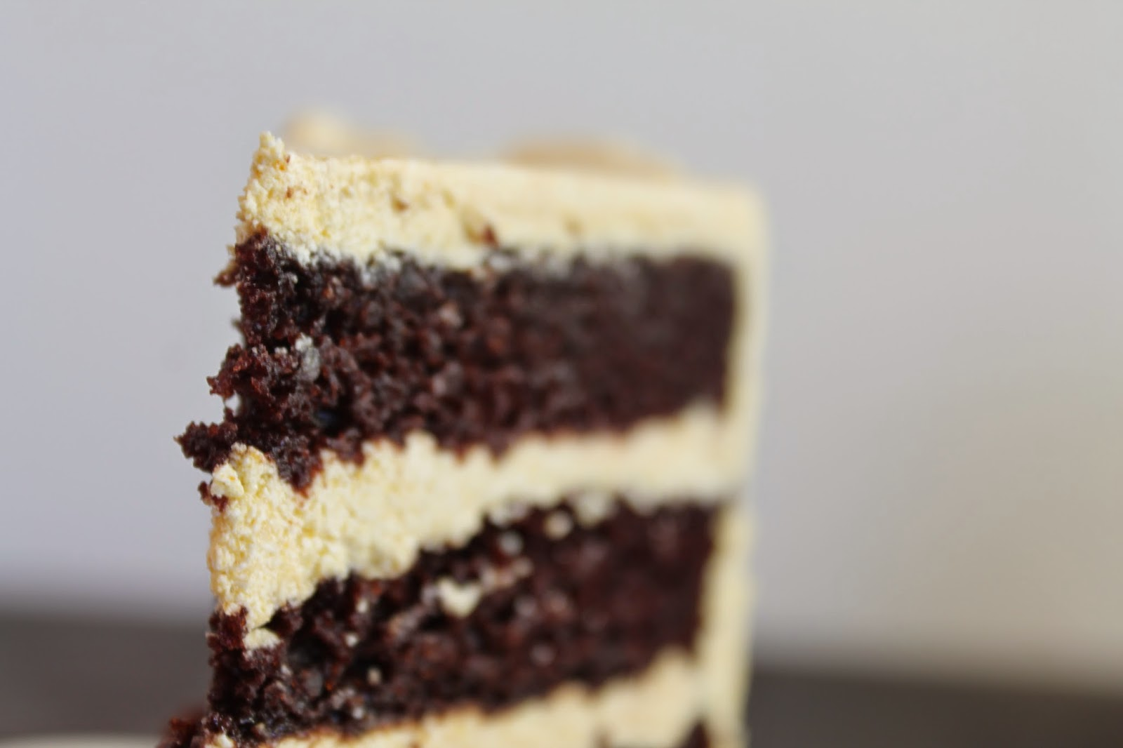 close up: slice of chocolate cake with pumpkin frosting