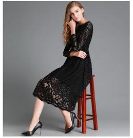 Black/White Three Sleeve Full Lace Past Knee Length Dress
