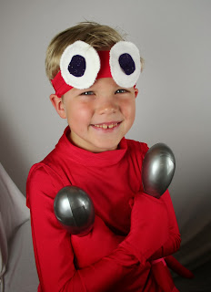 Picture of young boy in home made Under the Sea Lobster costume