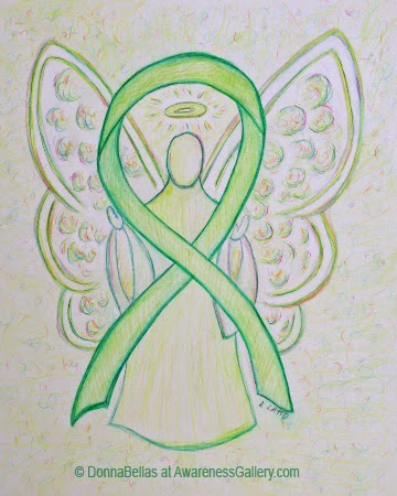 Lime Green Guardian Angel Awareness Ribbon Image Picture