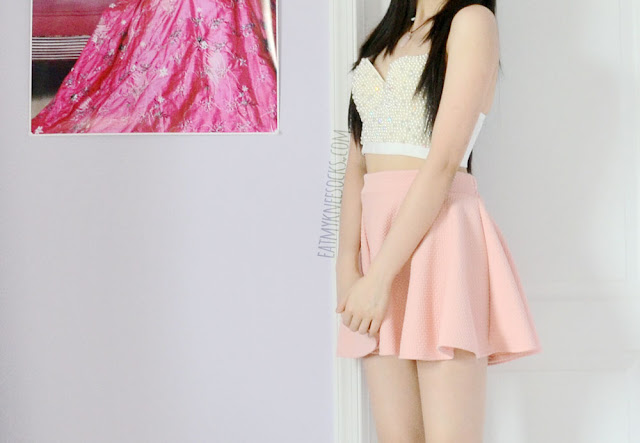 More photos of the beaded white bustier top from SheIn, paired with a flared pastel pink skater skirt for a cute summer outfit.