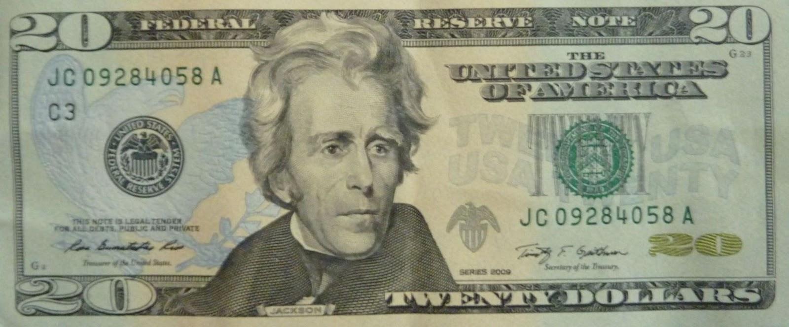 twenty segments andrew jackson is on the twenty dollar bill