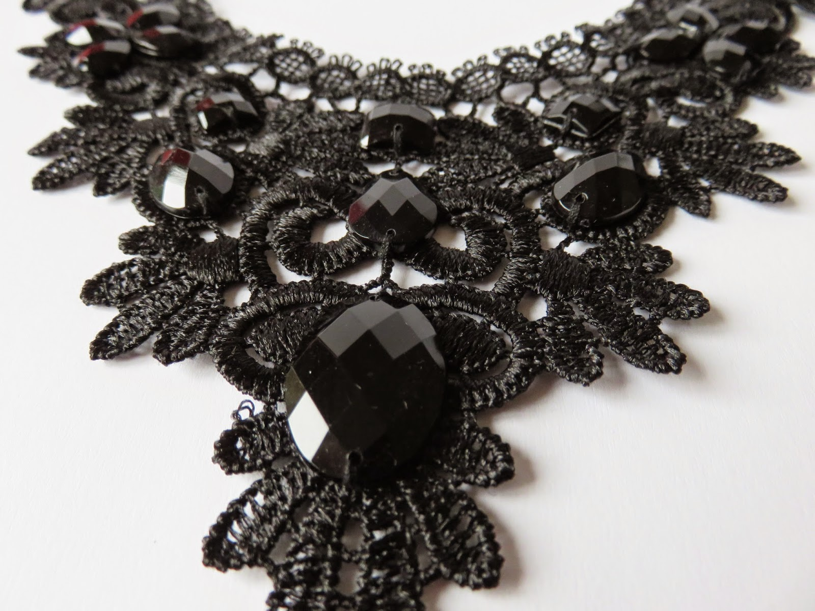 closeup bold statement lace necklace rhinestones hema