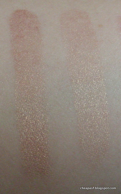 Swatches of e.l.f. Baked Eyeshadow in Enchanted  after wear test (left to right): e.l.f. Lock and Seal vs. water