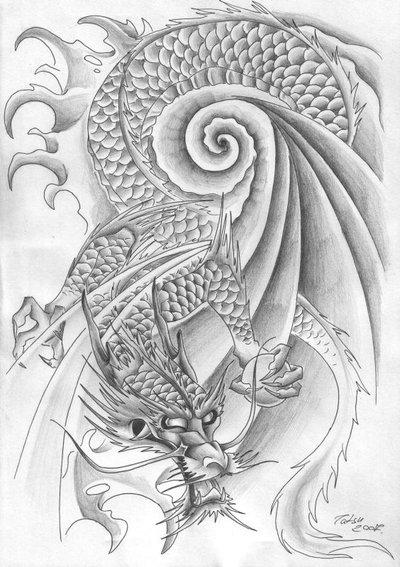 Dragon Tattoos Sketches. dragon tiger tattoo.