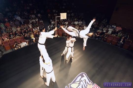 Video aksi ekstrem akrobatik taekwondo