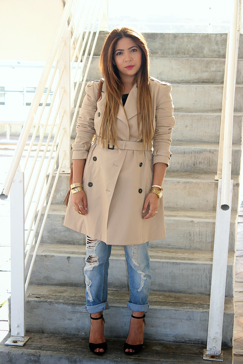Trench Coat OOTD, Mango Trench Coat, Trench Coat & boyfriend jeans, tan bucket bag, long ombre hair, fashion blogger south africa, modest fashion blogger