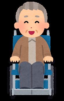 車椅子に乗ったお爺さんの表情イラスト(笑った顔)