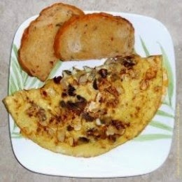 Easy Cheesy Omelet with Mushrooms and Onions