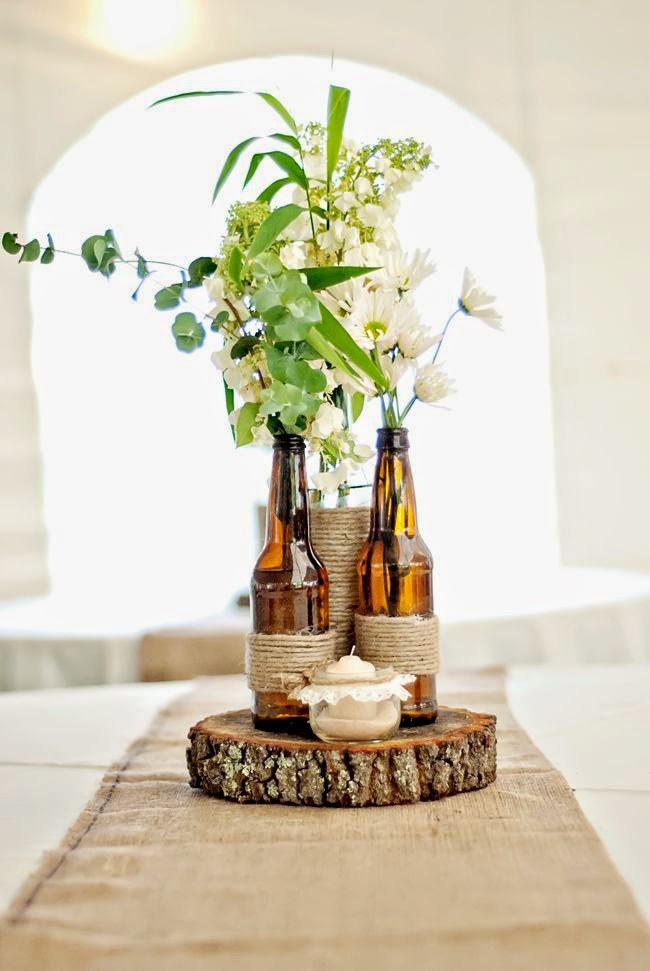 9 centros de mesa para boda econ micos con botellas for Adornos jardin baratos