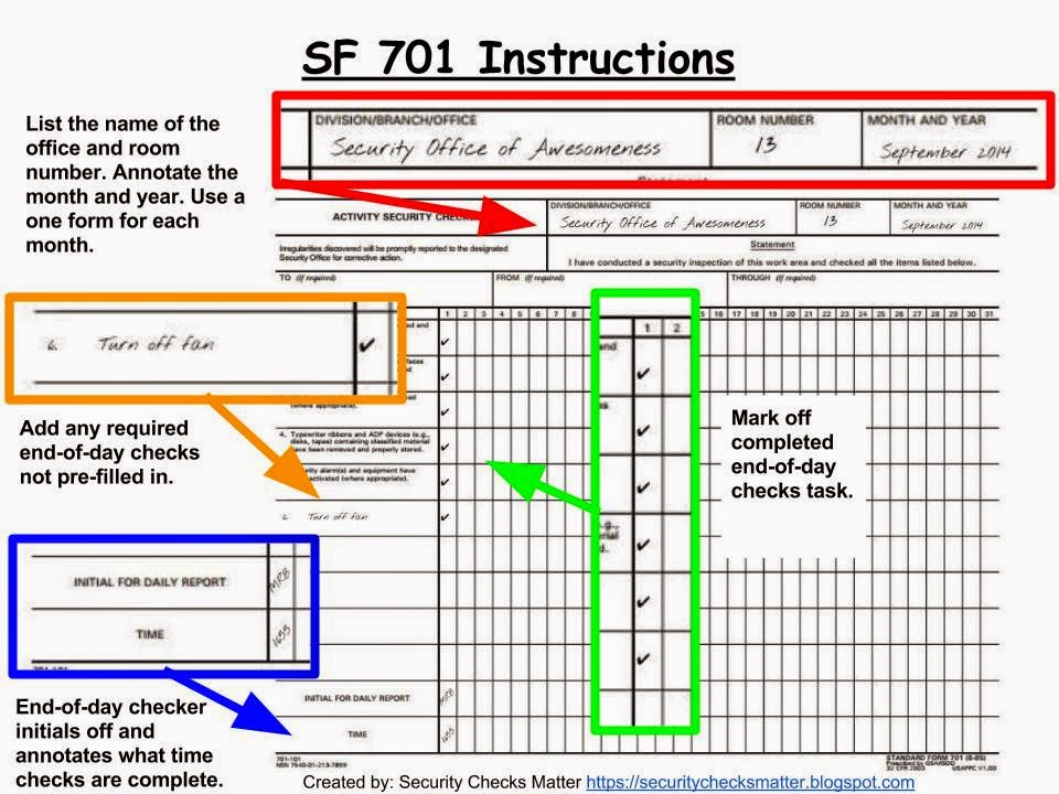 standard form 701 SF 701 instructions