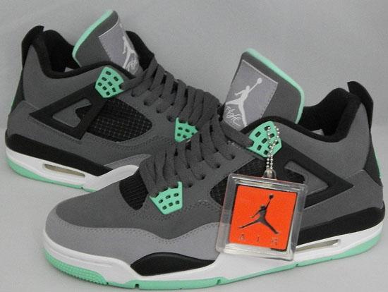 Air Jordan 4 Lueur Verte N Tatouage Noir