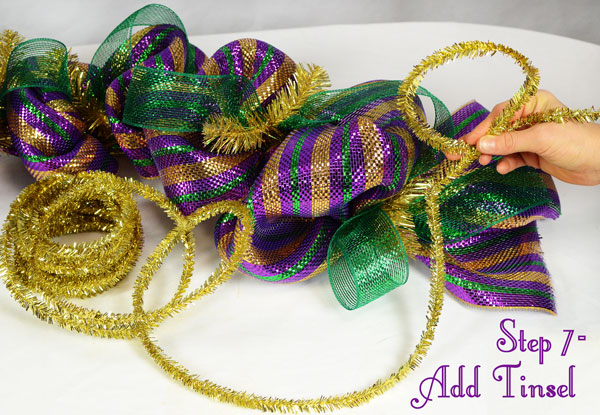 Mardi Gras Garland with tinsel tie roping added into the tinsel ties.