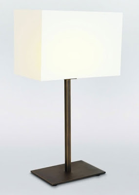 The AX4504 Bronze Park Lane Table Lamp with a white / black rectangular shade