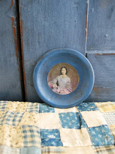 tiny tin plate with old photo print